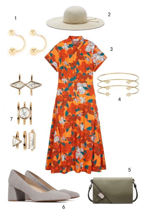 THỨ TƯ: HỌA TIẾT HOA:  1 hoa tai Warehouse, 2 nón Nine West, 3 đầm MAX & Co, 4 set vòng tay Accessorize, 5 túi Bally, 6 giày Zara, 7 set nhẫn Aldo