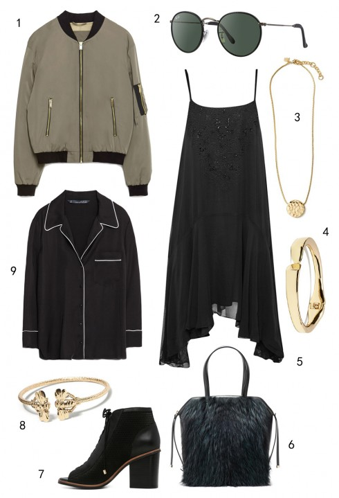 THỨ NĂM: SLIP DRESS/PYJAMAS: 1 áo khoác Zara, 2 mắt kính Rayban, 3 dây chuyền Banana Republic, 4 vòng tay Banana Republic, 5 đầm FCUK, 6 túi Furla, 7 giày Aldo, 8 vòng tay Banana Republic, 9 áo Zara