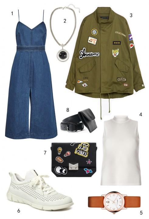 THỨ BẢY: LABELS/LOGOS: 1 đầm FCUK, 2 vòng cổ Marks & Spencer, 3 áo khoác Zara, 4 áo Dorothy Perkins, 5 đồng hồ Marc Jacobs, 6 giày Ecco, 7 túi Zara, 8 thắt lưng MAX & Co
