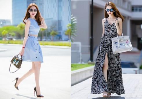 Ngọc Trinh rất thích diện những chiếc váy ngắn màu sắc tươi trẻ, hoặc những chiếc váy dài maxi kiểu dáng thướt tha, nữ tính