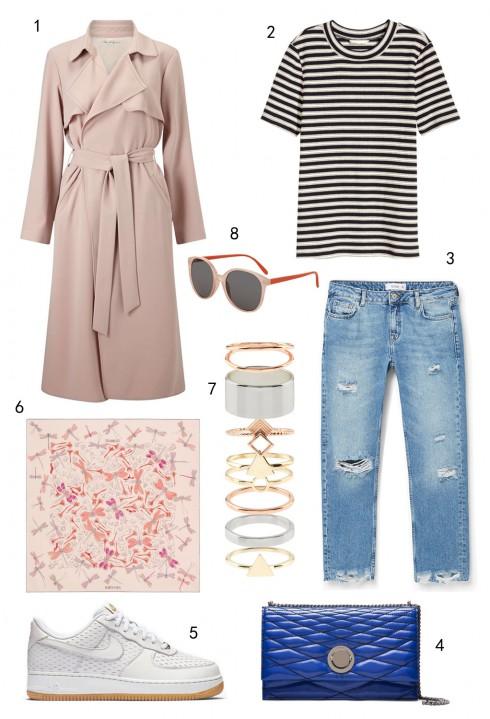 THỨ HAI:  1 áo khoác Miss Selfridge, 2 áo thun H&M, 3 quần jeans Mango, 4 túi Bally, 5 giày Nike, 6 khăn lụa Hermès, 7 set nhẫn Accessorize, 8 mắt kính Topshop