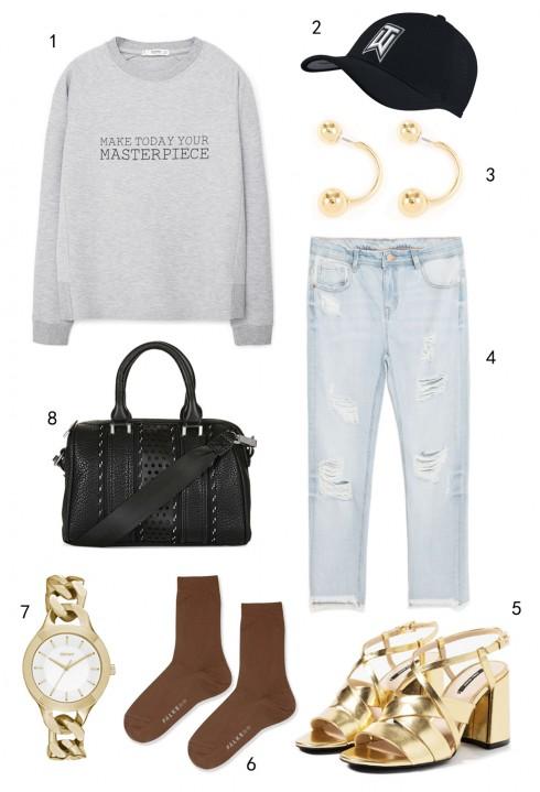 THỨ BA: 1 áo sweatshirt Mango, 2 nón Nike, 3 hoa tai Warehouse, 4 quần jeans Zara, 5 giày Zara, 6 vớ Topshop, 7 đồng hồ DKNY, 8 túi Topshop