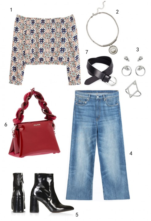 THỨ TƯ: 1 áo H&M, 2 vòng cổ Marks & Spencer, 3 set hoa tai và nhẫn Miss Selfridge, 4 quần jeans Zara, 5 boots Topshop, 6 túi Miu Miu, 7 thắt lưng Marks & Spencer