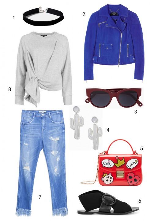 THỨ SÁU: 1 vòng cổ choker Topshop, 2 áo khoác Karen Millen, 3 mắt kính MAX & Co, 4 hoa tai Topshop, 5 túi Furla, 6 sandals Charles & Keith, 7 quần jeans Zara, 8 áo sweatshirt FCUK