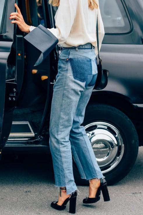 Jeans có gấu quần rách bất cân xứng mang đến điểm nhấn hay ho cho trang phục của người mặc.