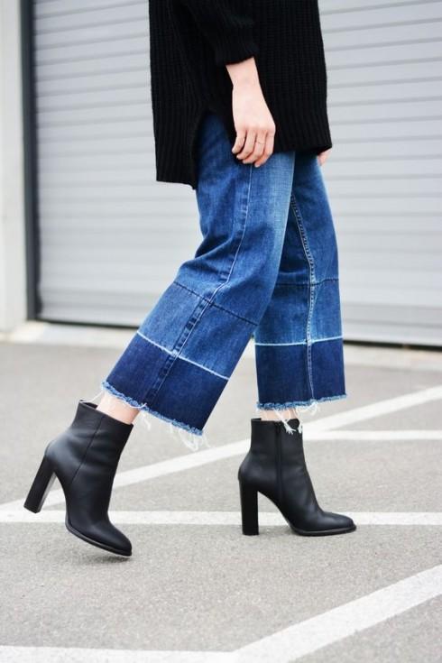 Quần jeans loe hai gấu khá kén chiều cao nhưng rất sành điệu.