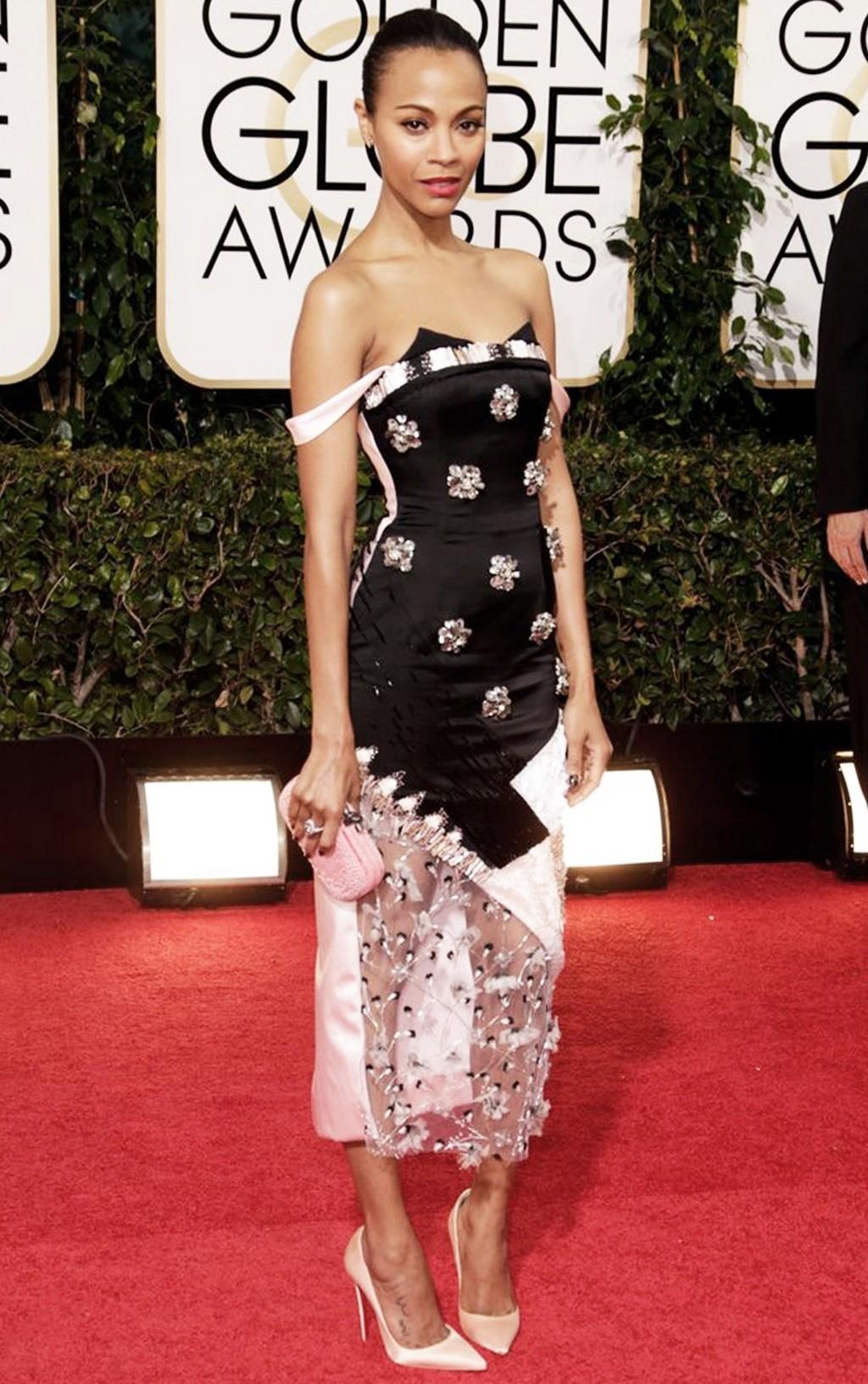 Nữ diễn viên Zoe Saldana tại lễ trao giải thưởng Golden Globe 2014