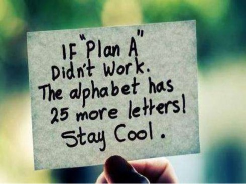 If Plan A did not work, the Alphabet has 25 more letters! Stay Cool.