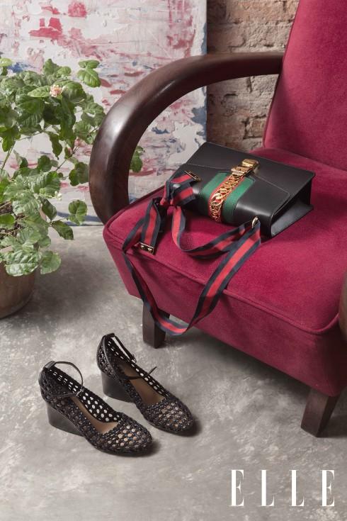 Túi Gucci, Giày đế xuồng đan da Hermès