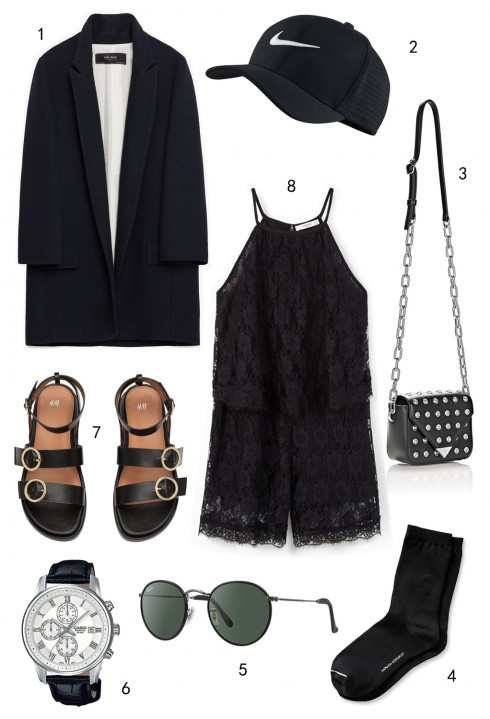 CHỦ NHẬT: 1 áo khoác blazer dáng dài Zara, 2 nón Nike, 3 túi Alexander Wang, 4 vớ Banana Republic, 5 mắt kính Ray-ban, 6 đồng hồ Casio, 7 sandals H&M, 8 jumpsuit Mango