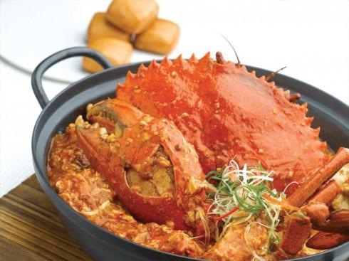 Món cua sốt ớt đặc trưng của đất nước Singapore.