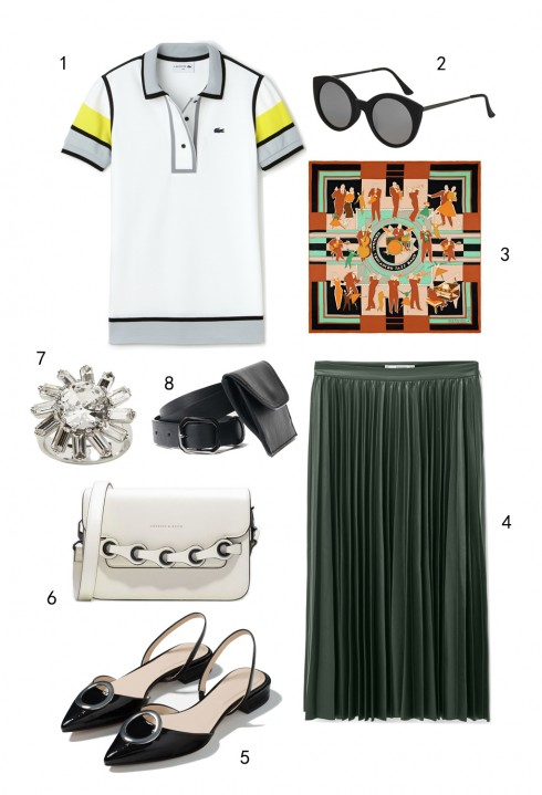 THỨ HAI: 1 áo Lacoste, 2 mắt kính Topshop, 3 khăn lụa Hermès, 4 váy Mango, 5 giày Zara, 6 túi Charles & Keith, 7 nhẫn Banana Republic, 8 thắt lưng MAX & Co