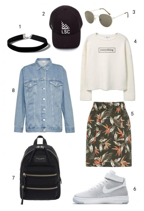 THỨ BA: 1 vòng cổ choker Topshop, 2 nón Lacoste, 3 mắt kính Topshop, 4 sweatshirt Mango, 5 váy Oasis, 6 giày Nike, 7 ba lô Marc Jacobs, áo khoác denim FCUK