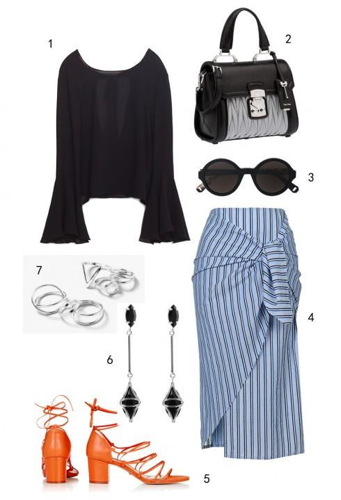 THỨ TƯ: 1 áo Zara, 2 túi Miu Miu, 3 mắt kính MAX & Co, 4 váy Topshop, 5 giày Topshop, 6 hoa tai Coast, 7 set nhẫn Topshop