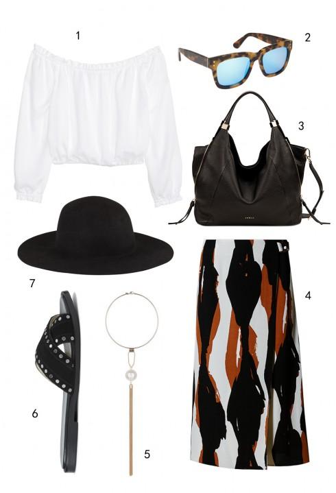 THỨ NĂM:  1 áo H&M, 2 mắt kính Aldo, 3 túi Furla, 4 váy Marks & Spencer. 5 vòng cổ Miss Selfridge, 6 dép Nine West, 7 nón Aldo