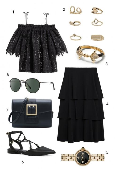 THỨ BẢY: 1 áo H&M, 2 set nhẫn Topshop, 3 vòng tay Banana Republic, 4 váy Zara, 5 đồng hồ Marc Jacobs,  6 giày Aldo, 7 túi Pedro, 8 mắt kính Ray-ban