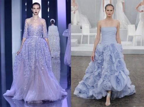 Váy cưới màu tím hoặc xanh pastel mang đến cảm giác mới mẻ, lãng mạn.