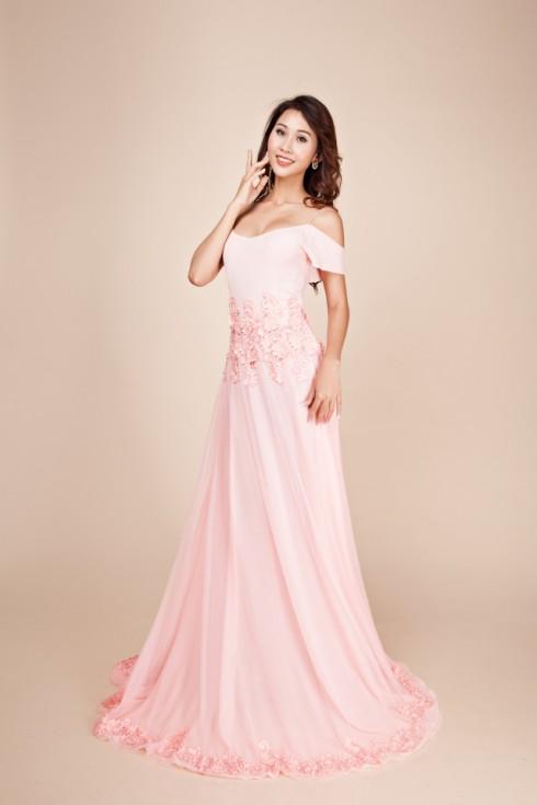 váy dạ hội màu hồng nhạt 4