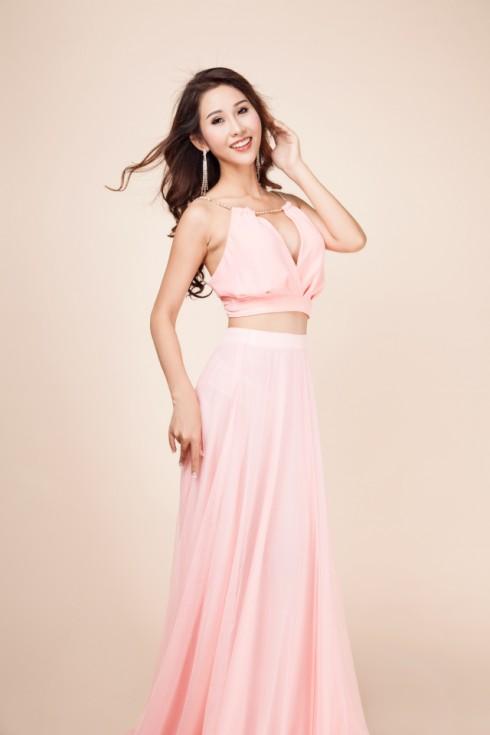 váy dạ hội màu hồng nhạt 6