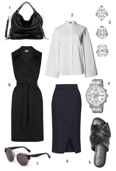 THỨ HAI: 1 túi Furla, 2 áo Marks & Spencer, 3 set nhẫn Topshop, 4 đồng hồ Casio, 5 dép FCUK, 6 váy Topshop, 7 mắt kính MAX & Co, 8 áo khoác Oasis