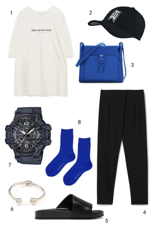 THỨ BA: 1 áo thun Zara, 2 nón Nike, 3 túi Pedro, 4 quần Mango, 5 dép Charles & Keith, 6 vòng tay Warehouse, 7 đồng hồ Casio, 8 vớ Topshop