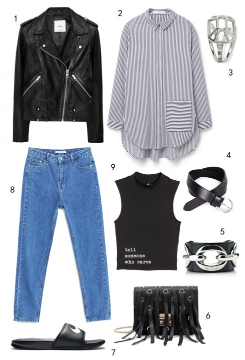THỨ BẢY: 1 áo khoác Mango, 2 áo sơ mi Mango, 3 nhẫn Karen Millen, 4 thắt lưng Marks & Spencer, 5 vòng tay Karen Millen, 6 túi Furla, 7 dép Nike, 8 quần jeans Zara, 9 áo H&M
