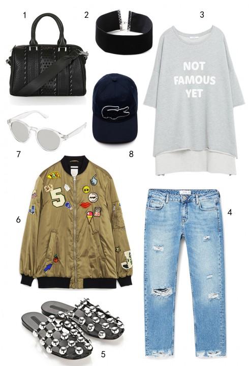 CHỦ NHẬT: 1 túi Topshop, 2 vòng cổ choker Topshop, 3 áo sweatshirt Zara, 4 quần jeans Mango, 5 dép Alexander Wang, 6 áo khoác Zara, 7 mắt kính Accessorize, 8 nón Lacoste