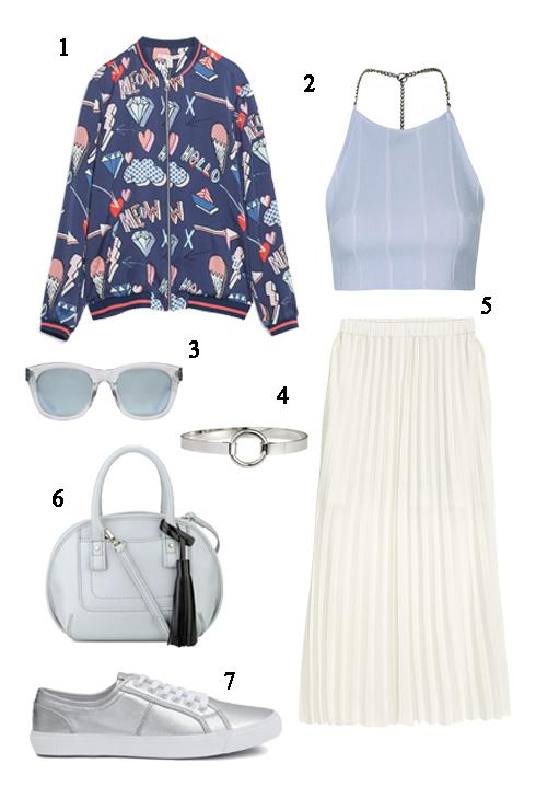 CHỦ NHẬT: 1 Áo khoác Zara, 2 Áo Topshop, 3 Mắt kính Nine West, 4   Vòng tay H&M, 5 Váy H&M, 6 Túi Nine West, 7 Giày H&M