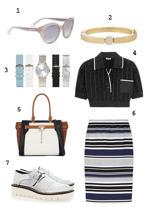 THỨ 4: 1 Mắt kính Max&Co, 2 Vòng tay Chloé, 3 Đồng hồ Aldo, 4 Áo   Miumiu, 5 Túi Aldo, 6 Váy Max&Co, 7 Giày Stella Mc Cartney.