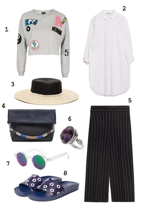 THỨ 5: 1 Áo Topshop, 2 Áo Zara, 3 Nón Zara, 4 Túi Fcuk, 5 Quần Zara, 6   Nhẫn Topshop, 7 Mắt kính H&M, 8 Dép Max&Co