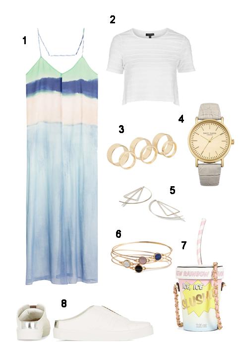 CHỦ NHẬT: 1 Maxi Zara, 2 Áo Topshop, 3 Bộ nhẫn Aldo, 4 Đồng hồ Accessorize, 5 Hoa tai Topshop , 6 Bộ vòng H&M, 7 Túi xách Aldo, 8 Giày Topshop.