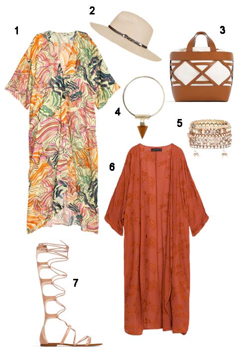 THỨ TƯ: 1 Maxi H&M, 2 Nón Topshop, 3 Túi xách Zara, 4 Vòng cổ Topshop, 5 Bộ vòng Accessorize, 6 Áo khoác Zara, 7 Giày Zara.