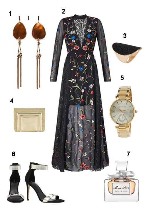 THỨ BẢY: 1 Hoa tai Zara, 2 Maxi Missselfridge, 3 Nhẫn Aldo, 4 Clutch Jimmy Choo, 5 Đồng hồ Accessorize, 6 Giày Aldo, 7 Nước hoa Miss Dior