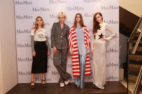 Dàn mẫu ruột của thương hiệu Ý tạo dáng sành điệu  với trang phục Max Mara trong buổi khai trương cửa hàng.