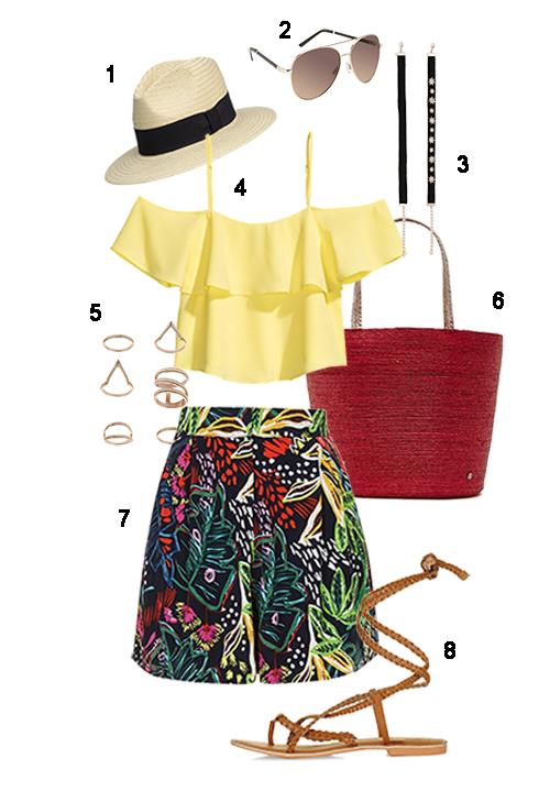 CHỦ NHẬT: 1 Nón H&M, 2 Mắt kính Aldo, 3 Chocker Zara, 4 Áo H&M, 5 Bộ nhẫn Miss Selfridge, 6 Túi Fcuk, 7 Quần Topshop, 8 Sandal Topshop