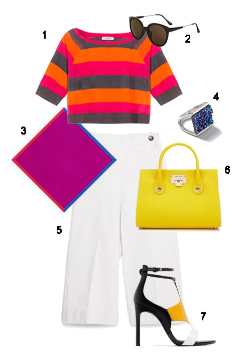 THỨ HAi: 1 Áo Max&Co, 2 Mắt kính Topshop, 3 Khăn lụa Hermès, 4 Nhẫn Topshop, 5 Quần culotte Zara, 6 Túi Jimmy Choo, 7 Giày Zara