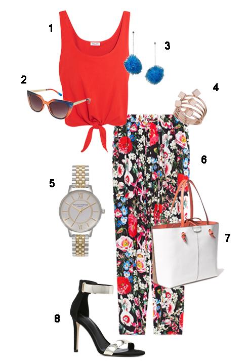 THỨ BA: 1 Áo Splendid, 2 Mắt kính Topshop, 3 Hoa tai Topshop, 4 Nhẫn Miss Selfridge, 5 Đồng hồ Topshop, 6 Quần Zara, 7 Túi Max&Co, 8 Giày Aldo