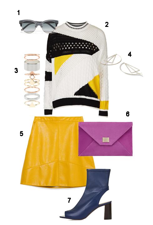 THỨ TƯ: 1 Mắt kính Chloé, 2 Áo Topshop, 3 Bộ nhẫn Accessorize, 4 Hoa tai Topshop, 5 Váy Zara, 6 Clutch Jimmy Choo, 7 Giày Topshop