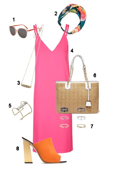 THỨ SÁU: 1 Mắt kính Topshop, 2 Băng đô Zara, 3 Vòng cổ Fcuk, 4 Đầm 2 dây Topshop, 5 Vòng tay Fcuk, 6 Túi Michael Kors, 7 Bộ nhẫn Miss Selfridge, 8 Giày Zara