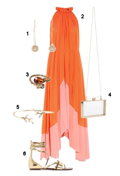 THỨ BẢY: 1 Hoa tai Coast, 2 Đầm Saloni, 3 Nhẫn Max&Co, 4 Túi Accessorize, 5 Vòng tay Accessorize, 6 Sandal Zara