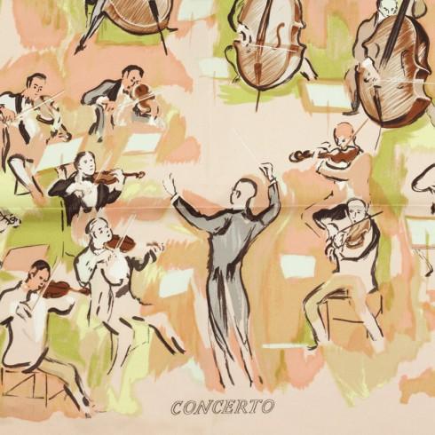 Các hoa văn tuyệt đẹp trên chiếc khăn lụa Hermes nghìn đô 1963 -  Concerto, Jean-Louis Clerc