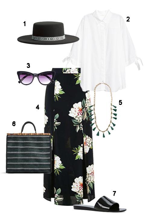 THỨ NĂM: 1 Mũ H&M, 2 Áo H&M, 3 Mắt kính Fcuk, 4 Váy Topshop, 5 Dây cổ Topshop, 6 Túi Zara, 7 Dép Aldo.