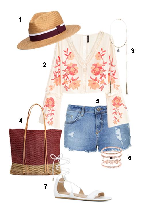 THỨ SÁU: 1 Mũ H&M, 2 Áo H&M, 3 Dây cổ Topshop, 4 Túi H&M, 5 Quần short Topshop, 6 Bộ nhẫn Accessorize, 7 Sandals Aldo.