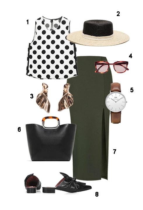 THỨ BẢY: 1 Áo Zara, 2 Mũ Zara, 3 Hoa tai Zara, 4 Mắt kính Fcuk, 5 Đồng hồ Topshop, 6 Túi Zara, 7 Váy Topshop, 8 Giày Topshop.