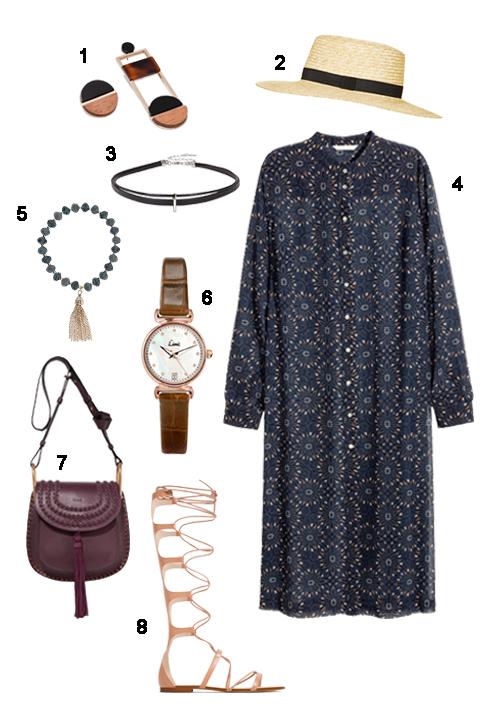 THỨ BA: 1 Hoa tai Zara, 2 Nón Topshop, 3 Chocker Aldo, 4 Áo H&M, 5 Vòng tay Accessorize, 6 Đồng hồ Topshop, 7 Túi Chloé, 8 Sandal Zara