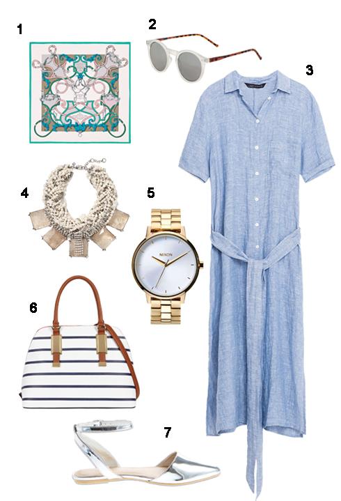 THỨ BẢY: 1 Khăn Hermès, 2 Mắt kính Topshop, 3 Áo Zara, 4 Vòng cổ Banana Republic, 5 Đồng hồ Topshop, 6 Túi Aldo, 7 Sandal Marks and Spencer.