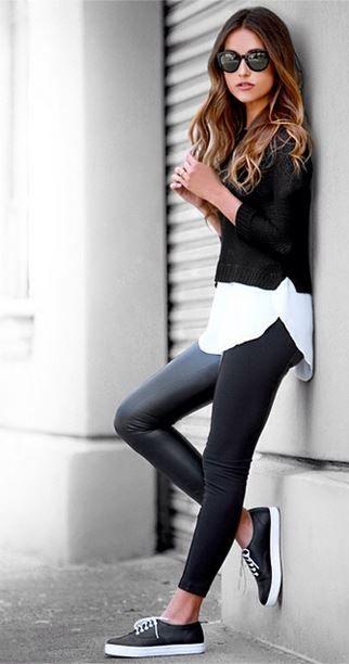Áo sơ mi trắng kết hợp với legging