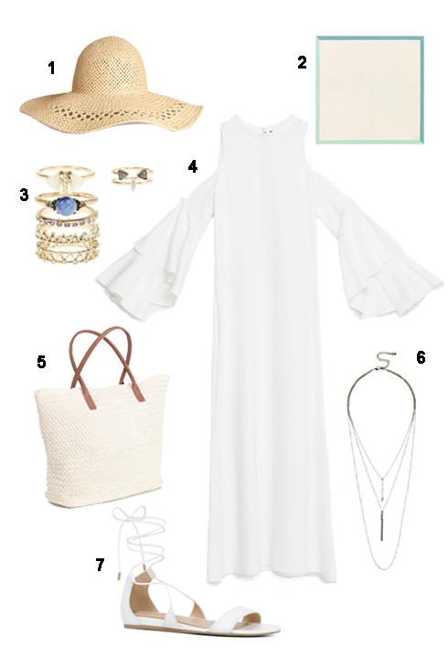 THỨ BA: 1 Nón H&M, 2 Khăn Hermès, 3 Bộ nhẫn Accessorize, 4 Đầm hở vai Zara, 5 Túi H&M, 6 Vòng cổ Aldo, 7 Sandal Aldo.