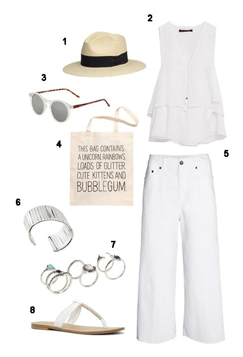 THỨ SÁU: 1. Nón H&M, 2 Áo Zara, 3 Mắt kính Topshop, 4 Túi H&M, 5 Quần H&M, 6 Vòng tay H&M, 7 Bộ nhẫn Aldo, 8 Dép xỏ ngón Aldo.