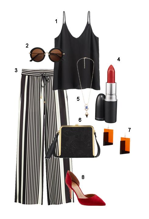 THỨ TƯ: 1 Áo 2 dây H&M, 2 Mắt kính H&M, 3 Quần H&M, 4 Son môi M.A.C, 5  Vòng cổ Mango, 6 Túi Zara, 7 Hoa tai Mango, 8 Giày Banana Republic.
